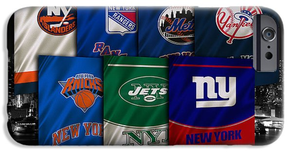 Baseball Uniform iPhone Cases - New York Sports Teams iPhone Case by Joe Hamilton