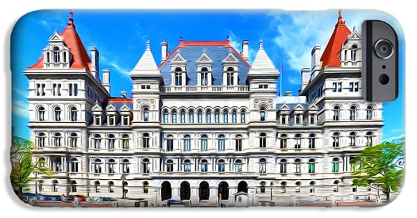 Democracy Paintings iPhone Cases - New York State Capitol iPhone Case by Lanjee Chee