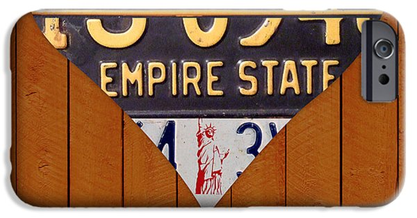 Nyc Mixed Media iPhone Cases - New York State Love Heart License Plate Art Series on Wood Boards iPhone Case by Design Turnpike