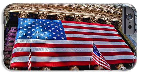 Patriotism iPhone Cases - New York Stock Exchange with US Flag iPhone Case by David Smith