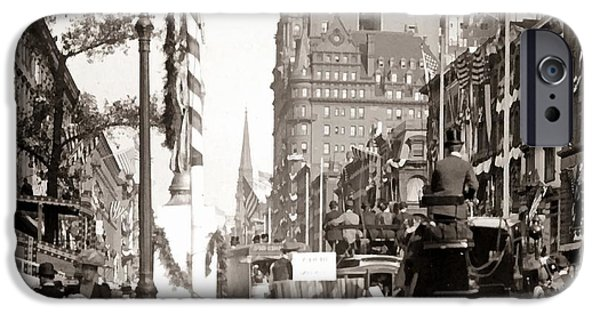 Horse And Buggy iPhone Cases - New York Street Scene iPhone Case by Unknown