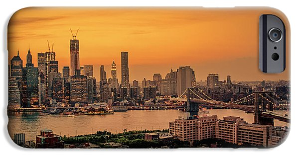 Freedom iPhone Cases - New York Sunset - Skylines of Manhattan and Brooklyn iPhone Case by Vivienne Gucwa