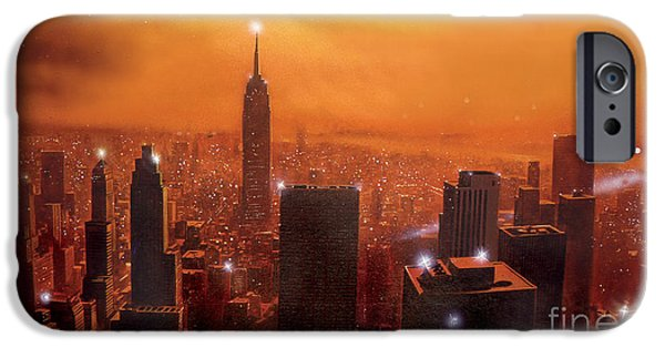 Empire State Digital iPhone Cases - New York Sunset iPhone Case by Steve Crisp