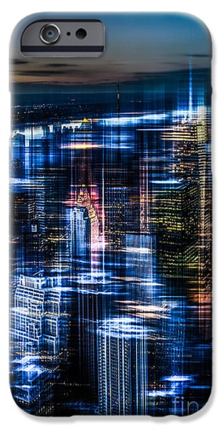 High Tower iPhone Cases - New York - the night awakes - blue I iPhone Case by Hannes Cmarits