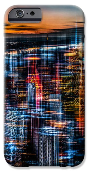 New York- the night awakes - orange iPhone Case by Hannes Cmarits