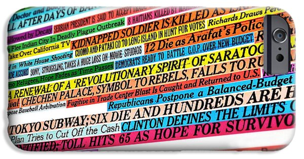 Natasha Marco iPhone Cases - New York Times Headlines iPhone Case by Natasha Marco