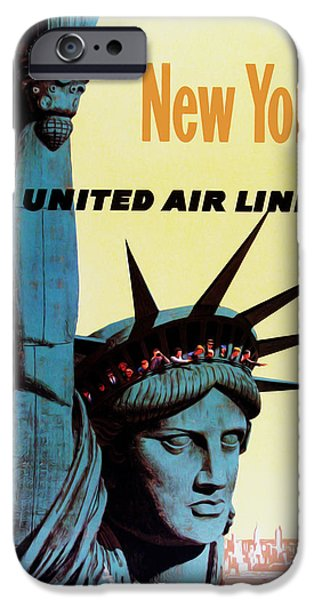Cities Photographs iPhone Cases - New York United Airlines iPhone Case by Mark Rogan