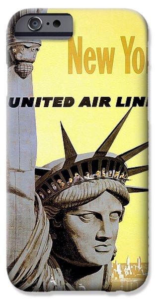 Fashion Design Art iPhone Cases - New York Vintage  Travel Poster iPhone Case by Jon Neidert