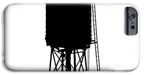 Industrial Icon iPhone Cases - New York water tower 17 - Silhouette - Urban icon iPhone Case by Gary Heller