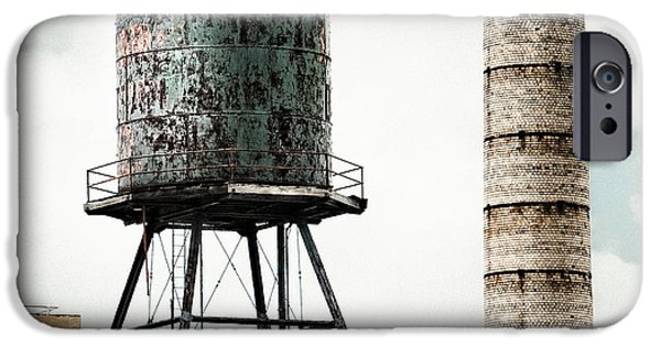 Industrial Icon iPhone Cases - Water Tower and SmokeStack in Brooklyn New York - New York Water Tower 12 iPhone Case by Gary Heller