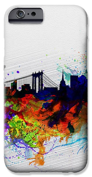 Downtown Digital iPhone Cases - New York  Watercolor Skyline 1 iPhone Case by Naxart Studio
