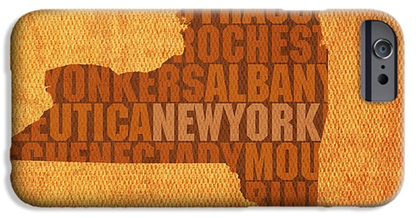 Cities Mixed Media iPhone Cases - New York Word Art State Map on Canvas iPhone Case by Design Turnpike