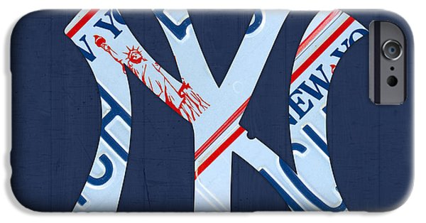 Nyc Mixed Media iPhone Cases - New York Yankees Baseball Team Vintage Logo Recycled NY License Plate Art iPhone Case by Design Turnpike