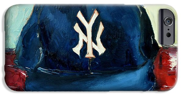 Baseball Art Paintings iPhone Cases - New York Yankees iPhone Case by Lindsay Frost