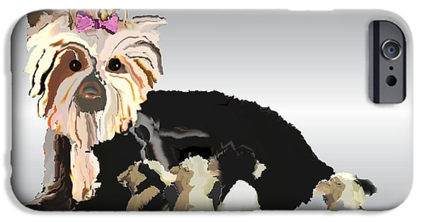 Puppy Digital Art iPhone Cases - New Yorkie Mother iPhone Case by Landrell Folse