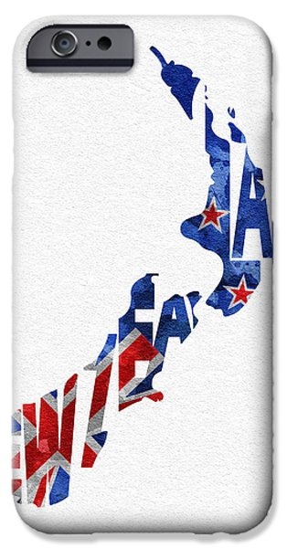 Abstract Map Digital Art iPhone Cases - New Zealand Typographic Map Flag iPhone Case by Ayse Deniz