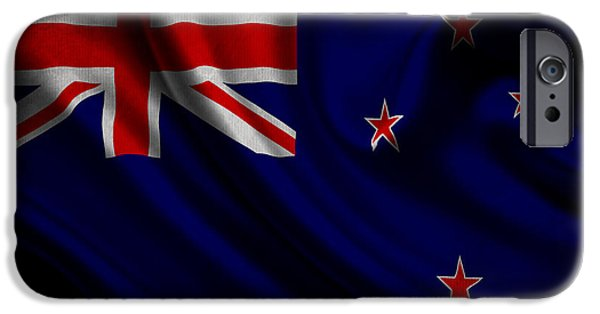 Waving Flag Mixed Media iPhone Cases - New Zealands flag waving on canvas iPhone Case by Eti Reid