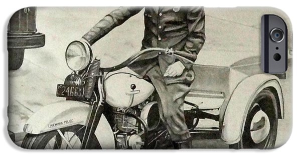 Law Enforcement Drawings iPhone Cases - Newark Motor Officer iPhone Case by Charles Rogers