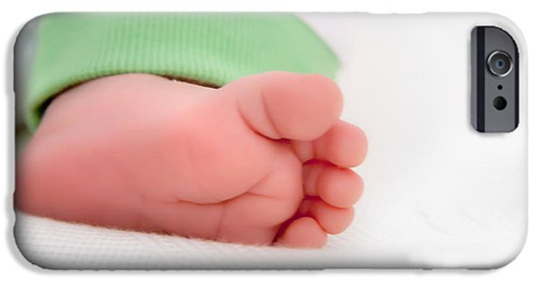 Innocence iPhone Cases - Newborn Baby Foot iPhone Case by Leyla Ismet