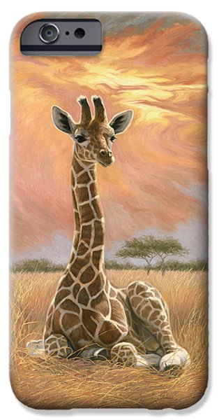 Giraffes iPhone Cases - Newborn Giraffe iPhone Case by Lucie Bilodeau