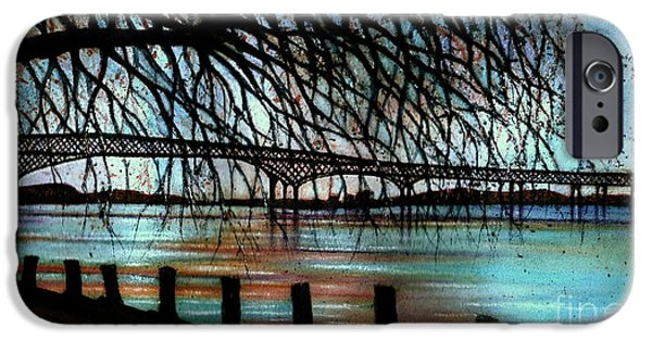 Fall Of River Paintings iPhone Cases - Newburgh - Beacon Bridge Night Sky iPhone Case by Janine Riley