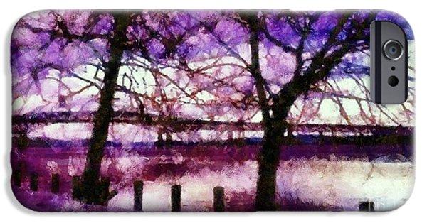 Hudson River Digital iPhone Cases - Newburgh Beacon Bridge Purple skies iPhone Case by Janine Riley