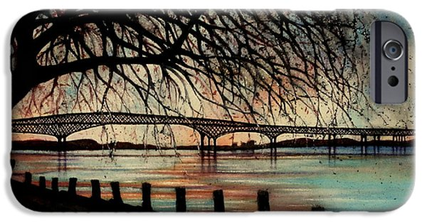 Fall Of River Paintings iPhone Cases - Newburgh Beacon bridge Sunset iPhone Case by Janine Riley