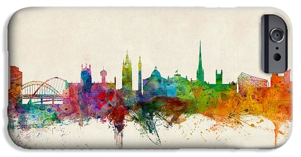Britain iPhone Cases - Newcastle England Skyline iPhone Case by Michael Tompsett