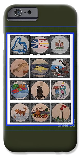 Block Quilts Tapestries - Textiles iPhone Cases - Newfoundland Heritage Quilt with Porthole Scenes iPhone Case by Barbara Griffin