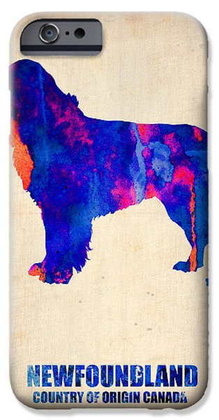 Puppy Digital Art iPhone Cases - Newfoundland Poster iPhone Case by Naxart Studio