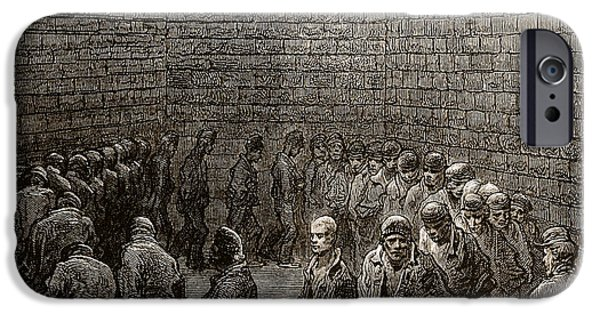 Signed Drawings iPhone Cases - Newgate Prison Exercise Yard iPhone Case by Gustave Dore
