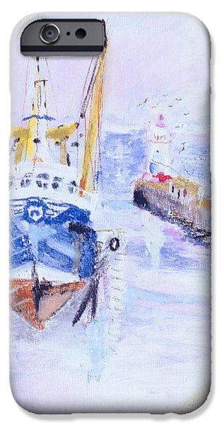 Trawler iPhone Cases - Newlyn, Cornwall, 2005 Oil Pastel & Acrylic On Board iPhone Case by Sophia Elliot