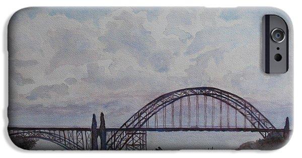 Newport iPhone Cases - Newport Bay Bridge I iPhone Case by Jenny Armitage