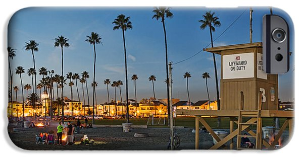 Beach At Night iPhone Cases - Newport Beach at Dusk iPhone Case by Kelley King