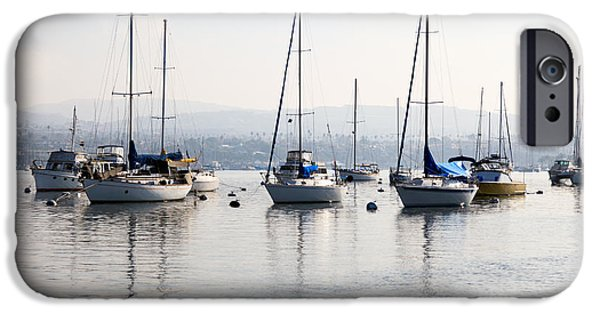 Sailboat Photos iPhone Cases - Newport Beach Bay Harbor California iPhone Case by Paul Velgos