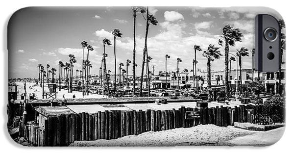 Business iPhone Cases - Newport Beach Dory Fishing Fleet Black and White Picture iPhone Case by Paul Velgos