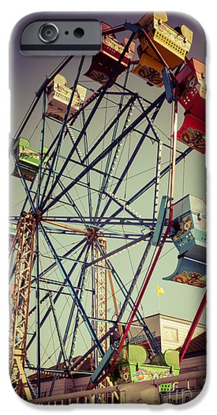 Amusements iPhone Cases - Newport Beach Ferris Wheel in Balboa Fun Zone Photo iPhone Case by Paul Velgos
