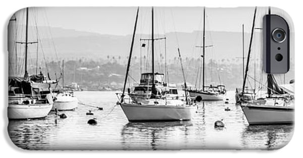 Sailboat Photos iPhone Cases - Newport Beach Harbor Boats Panorama Photo iPhone Case by Paul Velgos
