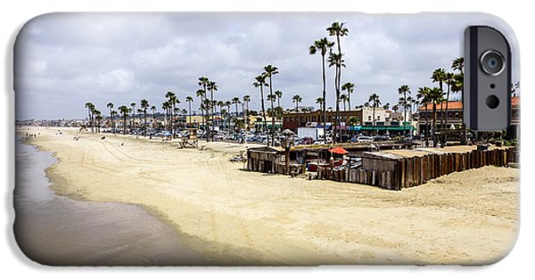 Business Photographs iPhone Cases - Newport Beach Oceanfront Businesses with Dory Fleet iPhone Case by Paul Velgos
