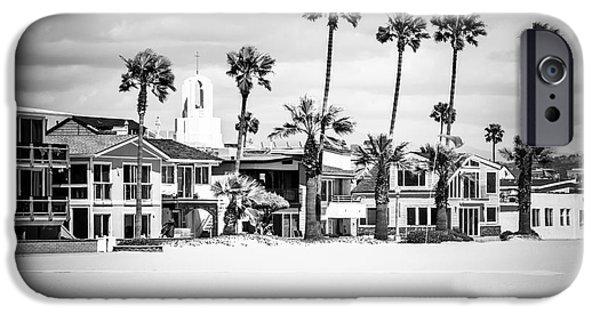 White House iPhone Cases - Newport Beach Oceanfront Homes Black and White Picture iPhone Case by Paul Velgos