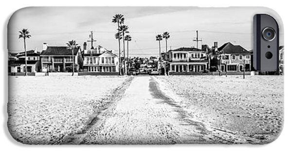White House iPhone Cases - Newport Beach Panorama at 11th Street and Balboa iPhone Case by Paul Velgos