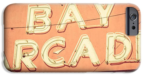 1960s iPhone Cases - Newport Beach Panoramic Retro Photo of Bay Arcade Sign iPhone Case by Paul Velgos