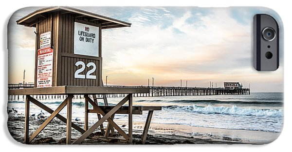 Hut iPhone Cases - Newport Beach Pier and Lifeguard Tower 22 Photo iPhone Case by Paul Velgos