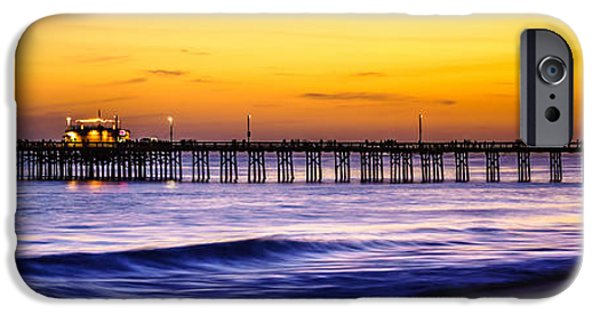 Pacific Ocean Prints iPhone Cases - Newport Beach Pier Panorama Sunset Photo iPhone Case by Paul Velgos