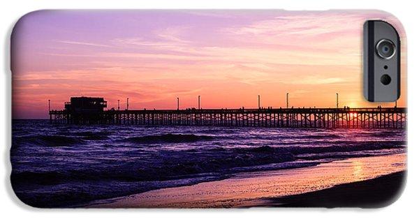 Newport Photographs iPhone Cases - Newport Beach Pier Sunset in Orange County California iPhone Case by Paul Velgos
