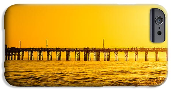Pacific Ocean Prints iPhone Cases - Newport Beach Pier Sunset Panoramic Photo iPhone Case by Paul Velgos