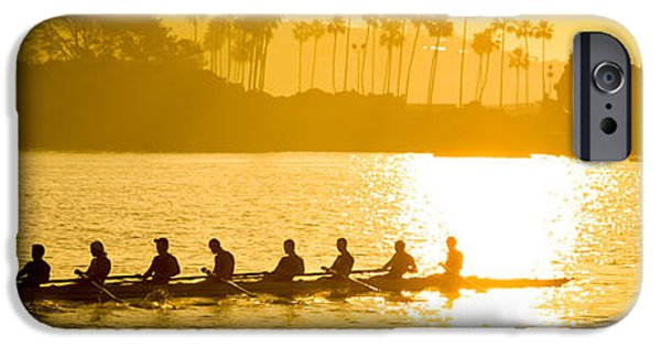 Sweeps iPhone Cases - Newport Beach Rowing Crew Panorama Photo iPhone Case by Paul Velgos