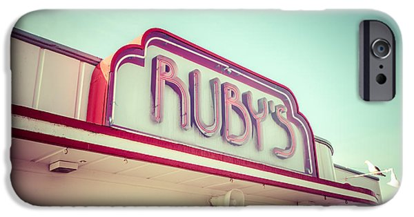 1960s iPhone Cases - Newport Beach Rubys Diner Retro Picture iPhone Case by Paul Velgos