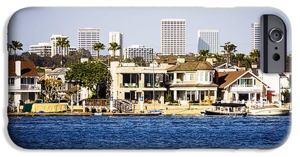 Business Photographs iPhone Cases - Newport Beach Skyline and Waterfront Homes Picture iPhone Case by Paul Velgos