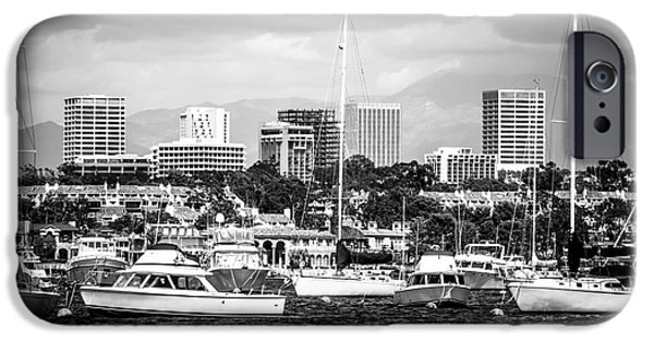 Business iPhone Cases - Newport Beach Skyline Black and White Picture iPhone Case by Paul Velgos